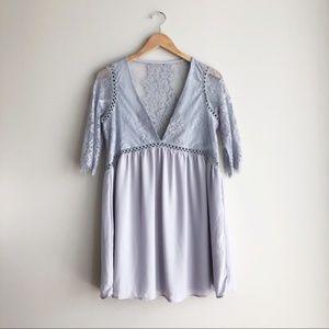 TOBI Lilac Purple Deep V Lace Dress Size Sm Petite